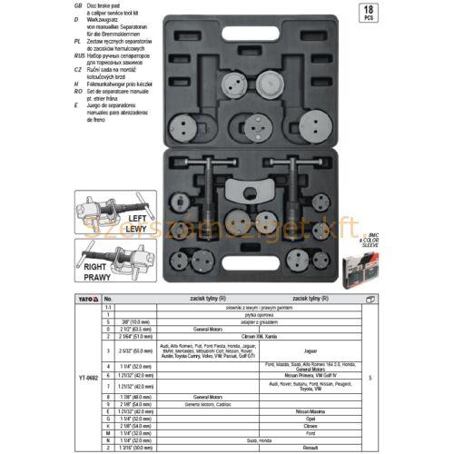Yato Fékmunkahenger prés készlet 18 részes (YT-0682)